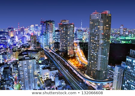 view to tokyo city skyscraper from railway Stock photo © dolgachov