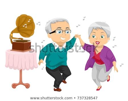 Senior Couple Gramophone Dance Illustration Stock photo © lenm