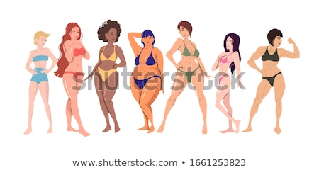 美しい 多文化の 若い女性 ボディ 陽性 ポーズ ストックフォト © dashapetrenko