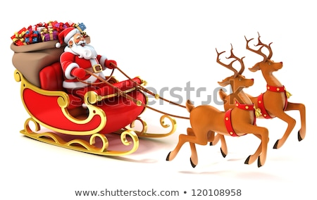 Christmas characters and sledge on white background Stock photo © colematt