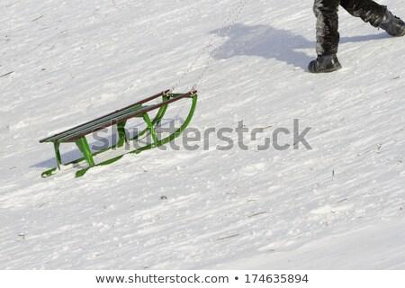 Kicsi fiú mászik hó domb tél Stock fotó © dolgachov
