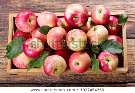 Stockfoto: Green And Red Apples In Wooden Box