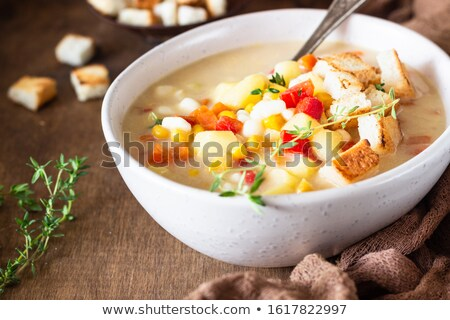 Ciotola patata dolce zuppa legno vassoio Foto d'archivio © Melnyk