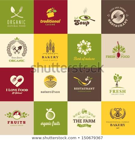 Organik gıda yeşil kalp simge ikon çiftlik Stok fotoğraf © SArts