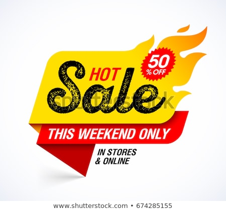 Hot Sale flame and percent sign label, sticker. special offer, big sale, discount percent off. Vecto Stock photo © kyryloff