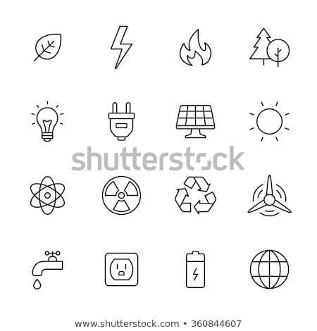 Radiation Symbol And Planet Vector Thin Line Icon Stock photo © pikepicture