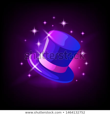 Purple cylinder hat, slot icon for online casino or logo for mobile game on dark background, vector  Stock photo © MarySan