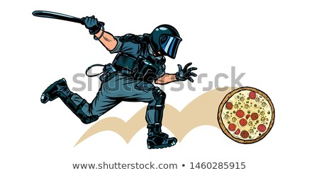 Italian pizza. riot police with a baton Stock photo © studiostoks