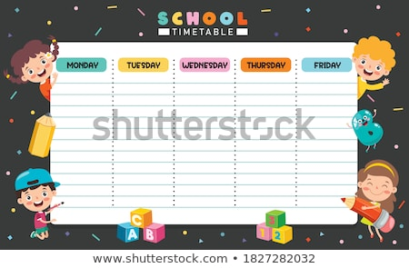 cute · school · schema · sjabloon · vector · kinderen - stockfoto © ikopylov