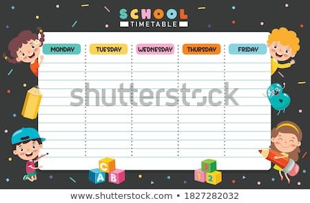 Schule Zeitplan Vorlage Studenten Schüler Kinder Stock foto © ikopylov