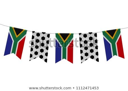 Güney Afrika bayrak futbol topu iki düzenli panel Stok fotoğraf © albund