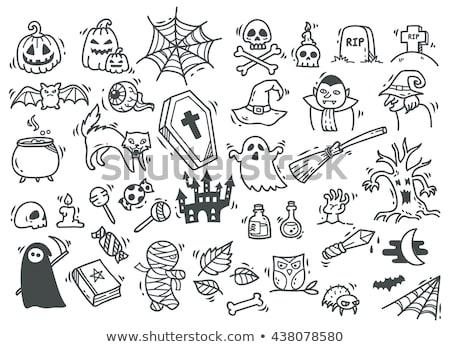 Stockfoto: Cartoon Cute Doodles Hand Drawn Halloween Illustration