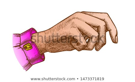 color girl hand gesture holding bag handdrawn vector stock photo © pikepicture