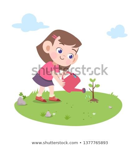 Dziewczyna wody drzewo konewka osoby wolontariusz Zdjęcia stock © robuart
