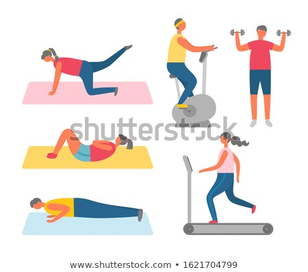 Woman Doing Sit-Ups on Rug, Fitness and Exercise Stock photo © robuart