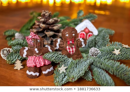 Christmas gingerbread men made of felt Stock photo © furmanphoto