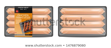 Sausage pack Vector realistic. Product placement label design. U Stock photo © frimufilms