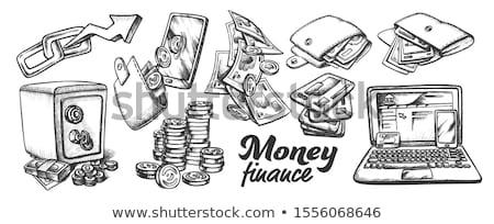 Cartera dinero billetes monocromo vector Foto stock © pikepicture