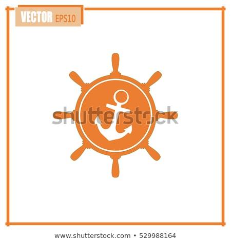 Tengeri szimbólumok kerekek árnyékok minta horgony Stock fotó © artjazz