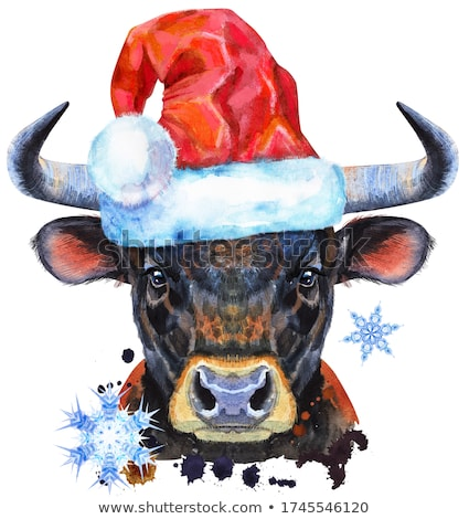 Watercolor illustration of black powerful bull in Santa hat Stock photo © Natalia_1947