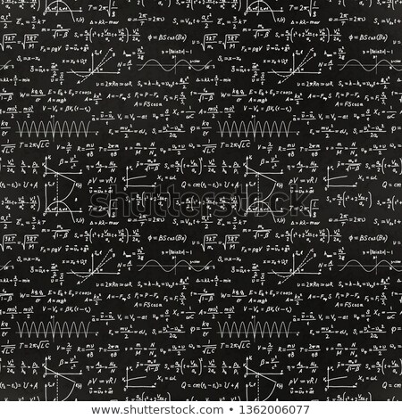 Lot of basic math equations and formulas, white chalk lettering on school green chalkboard Stock photo © evgeny89