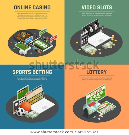 Laptop with Player Betting And Gambling isometric icon vector illustration Stock photo © pikepicture