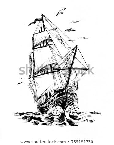 details · oude · zeilschip · zeil · hemel · achtergrond - stockfoto © premiere