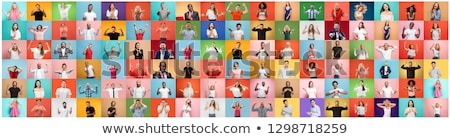 Happy Business Team, Asian Man Caucasian Woman Cheering White Ba stock photo © Qingwa