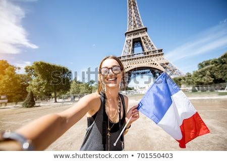 Güzel genç kadın Paris simge Eyfel Kulesi Stok fotoğraf © dotshock