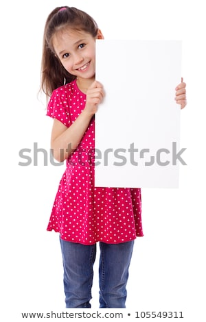 young child holding vertical sign Stock photo © gewoldi