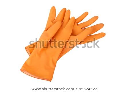 Iki turuncu lastik eldiven yalıtılmış beyaz Stok fotoğraf © boroda