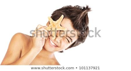blij · gezicht · jongen · zeester · strand · cute - stockfoto © anna_om