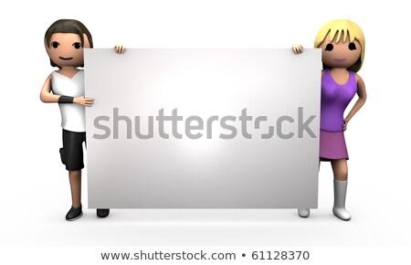 Stockfoto: Jonge · 3D · paar · groot