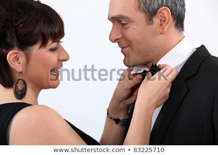 Nő estélyi ruha megjavít partnerek csokornyakkendő férfi Stock fotó © photography33