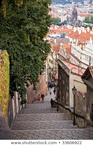 Lépcsősor utca Prága égbolt ház fa Stock fotó © cherju