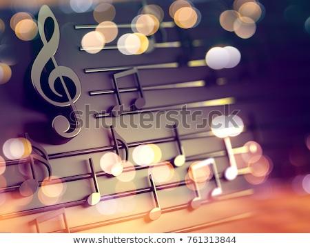 audiencia · notas · musicales · silueta · excitado · colorido · música - foto stock © 4designersart