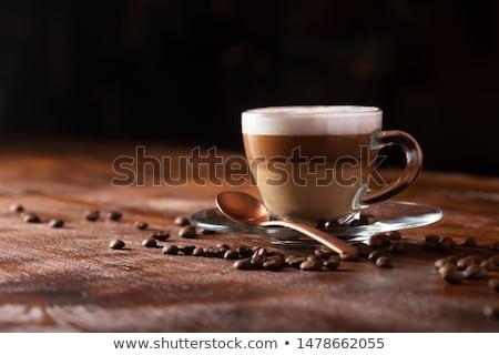 капучино сердце пить черный объект отражение Сток-фото © cboswell