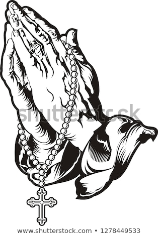 Rosario manos aislado blanco iglesia piedra Foto stock © shutswis