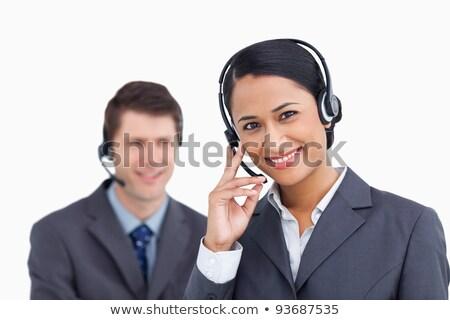 Call center agent hoofdtelefoon witte telefoon werk Stockfoto © wavebreak_media