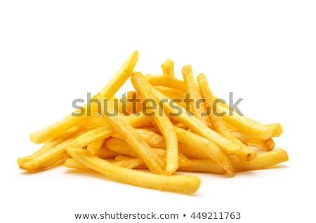 sültkrumpli · ketchup · felszolgált · fehér · tányér · Franciaország - stock fotó © stevanovicigor
