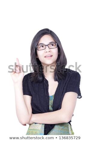 ストックフォト: 小さな · 十代の少女 · 立って · 指 · ポインティング