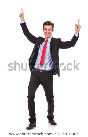 Portret energiek jonge zakenman genieten succes Stockfoto © dacasdo