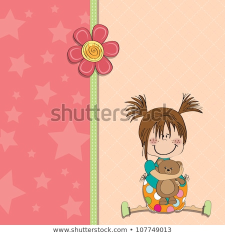 customizable childish card with funny teddy bear Stock photo © balasoiu