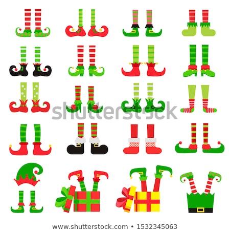 Foto stock: Bonitinho · natal · elfo · pernas · saia · isolado