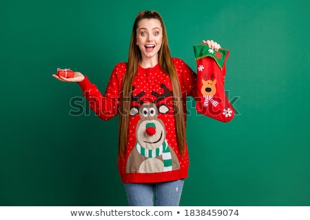 Mooie brunette Rood kousen ondergoed haard Stockfoto © ssuaphoto