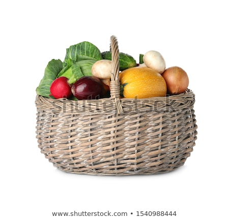brut · légumes · osier · panier · isolé · blanche - photo stock © neirfy