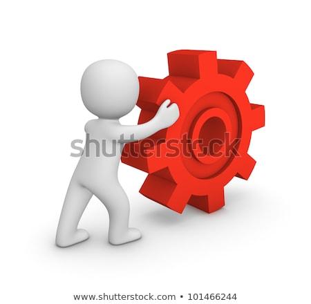 3d man rolling a gear Stock photo © designers
