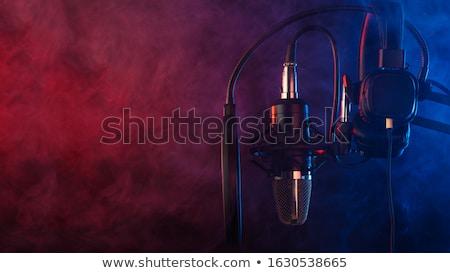 Stok fotoğraf: Kulaklık · mikrofon · ses · yalıtılmış · beyaz · müzik