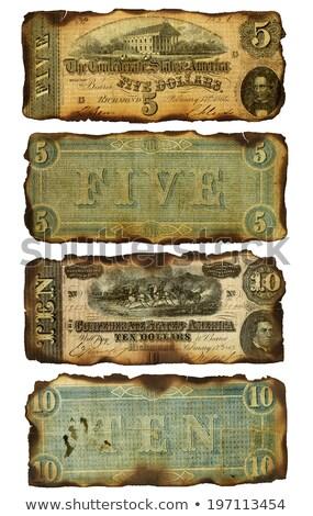 old burned confederate five and ten dollar bills stock photo © 3mc