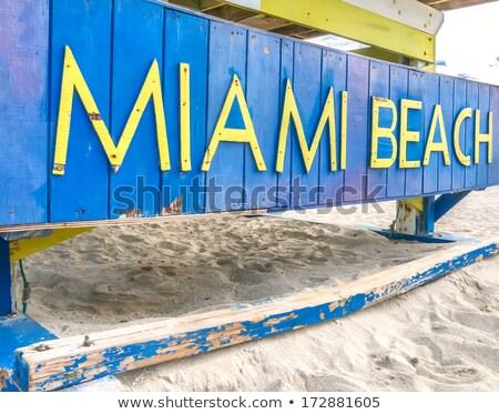 Miami plaj imzalamak cankurtaran kulübe doğa Stok fotoğraf © meinzahn